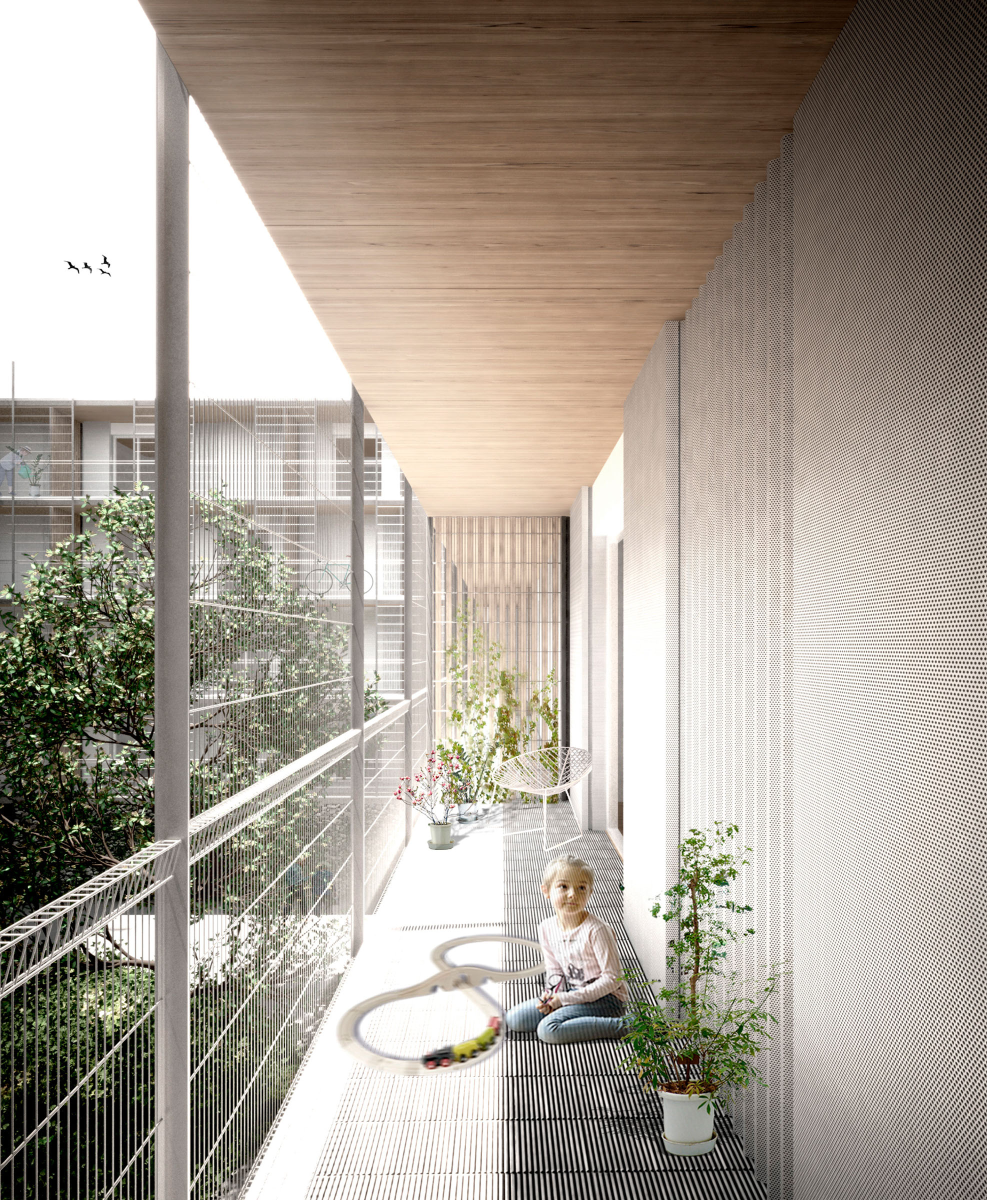 Imatge virtual de l'edifici de 85 habitatges amb protecció oficial al sector Pisa, Cornellà_terrassa_WEB.jpg